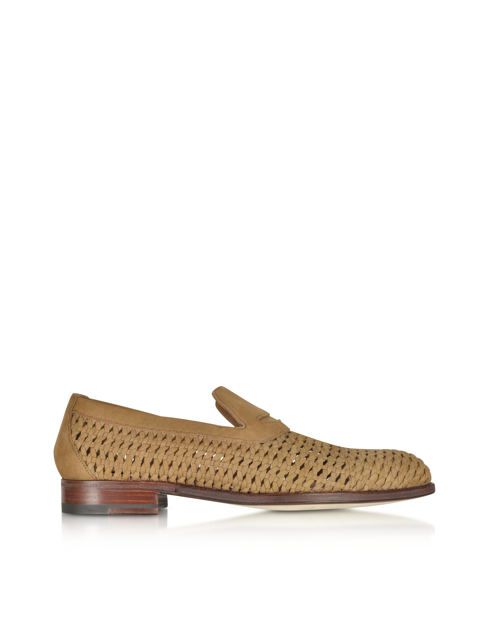 a testoni woven leather slip on shoe in brown for