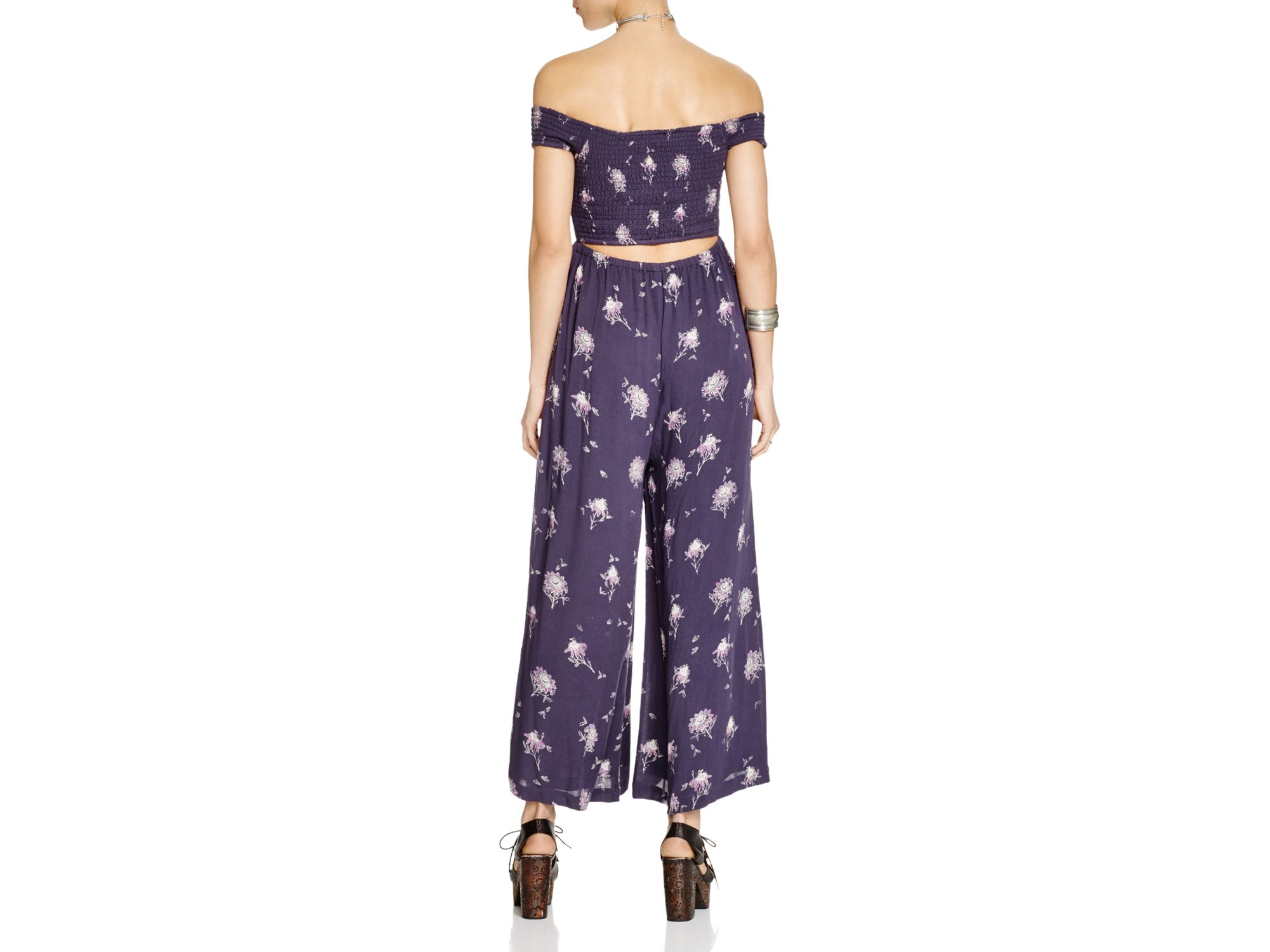 edf997c13240 Lyst - Free People Aster Off-the-shoulder Jumpsuit in Blue