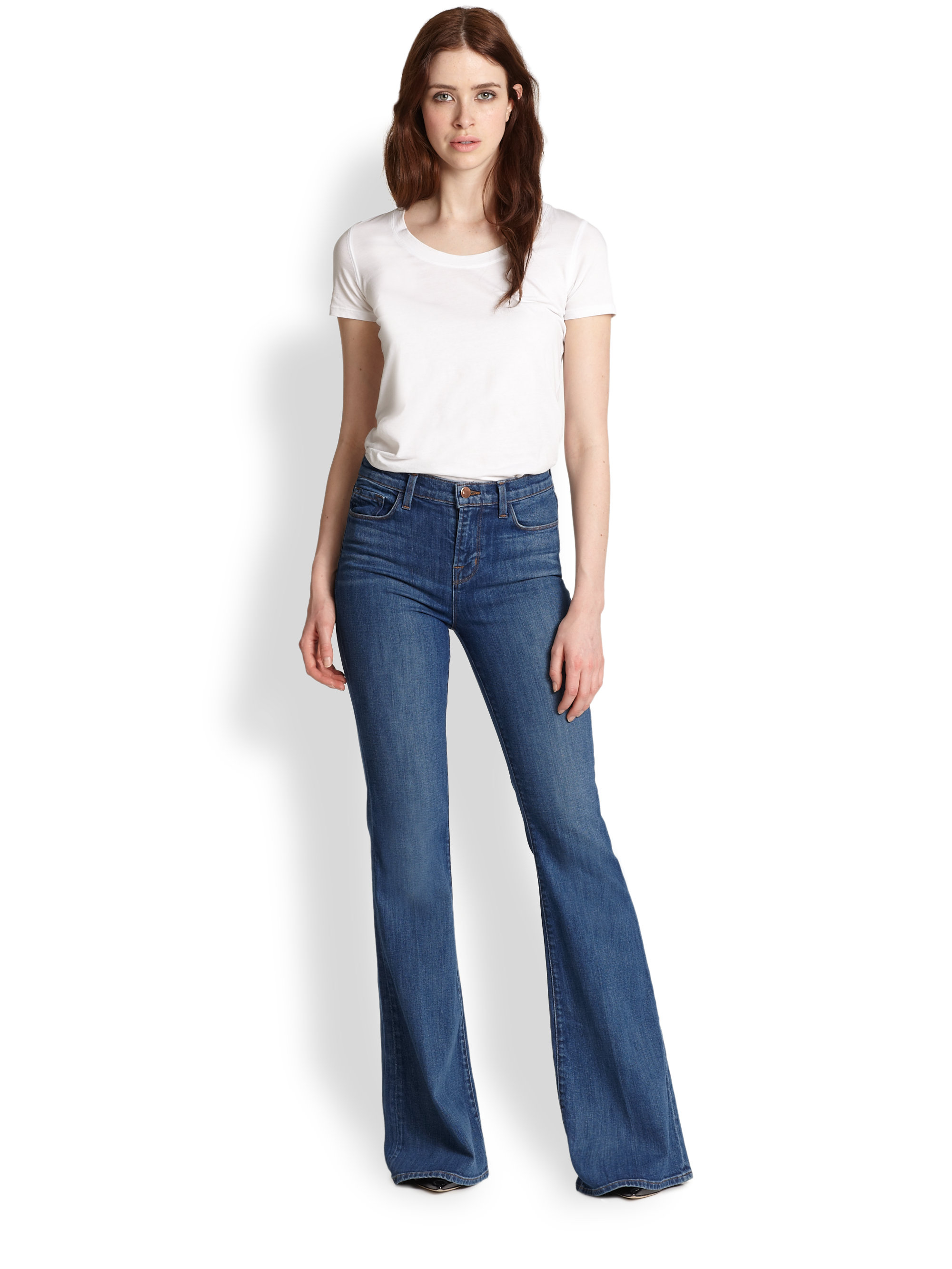J brand Valentina High-Rise Flared Jeans in Blue | Lyst