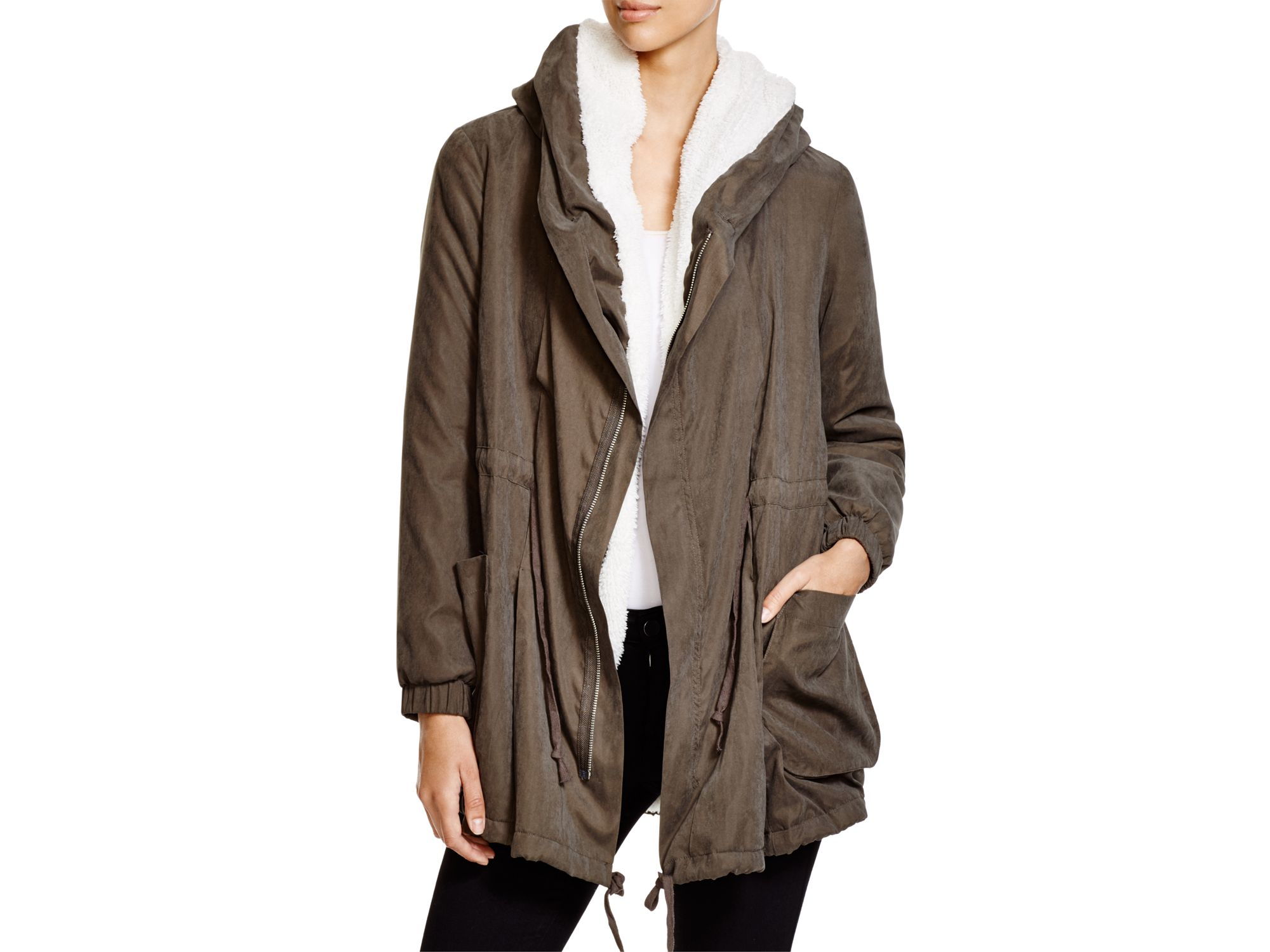 Lush Fleece-lined Hooded Jacket in Green | Lyst