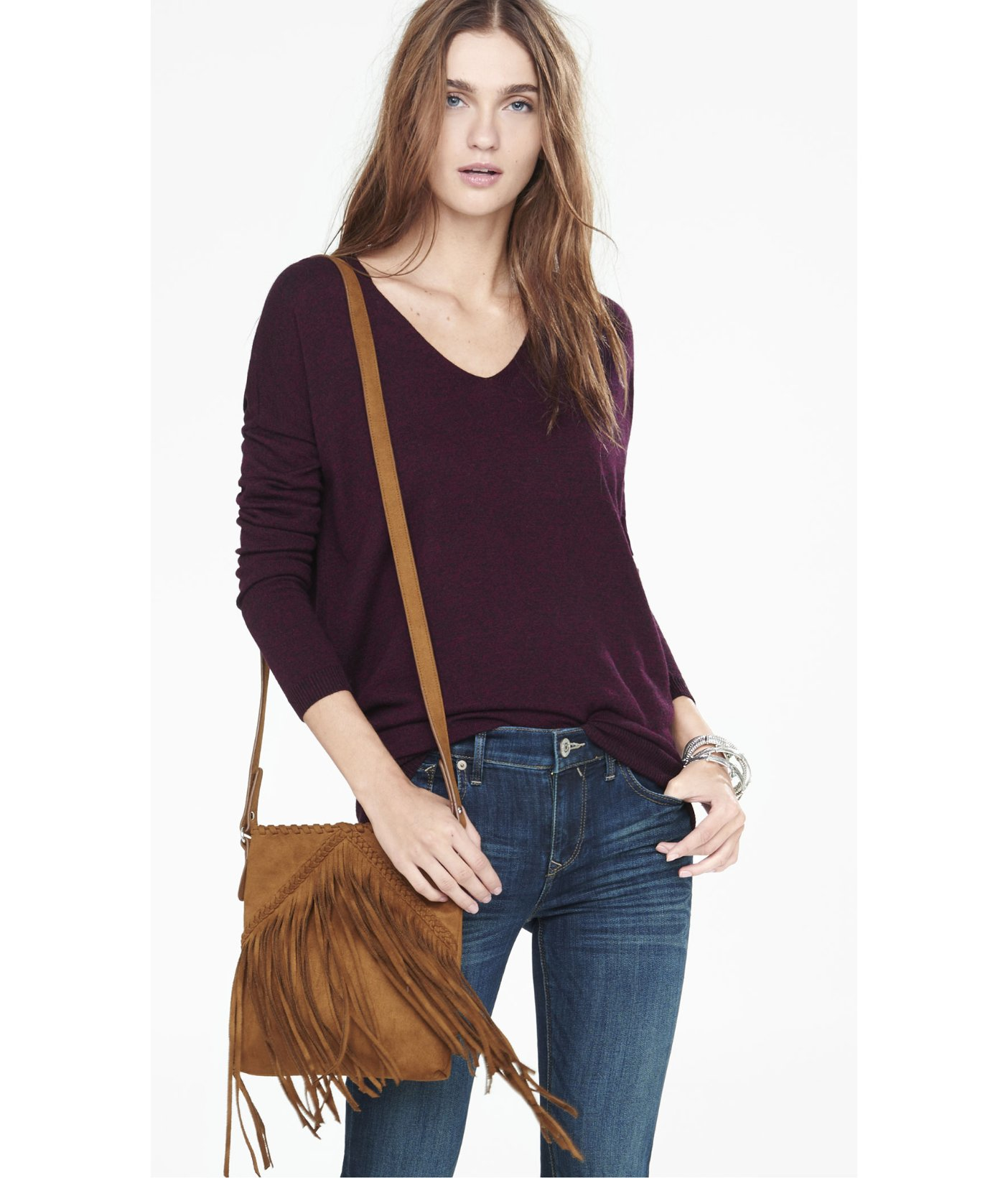 Express Marled V-neck Wedge Tunic Sweater in Purple | Lyst