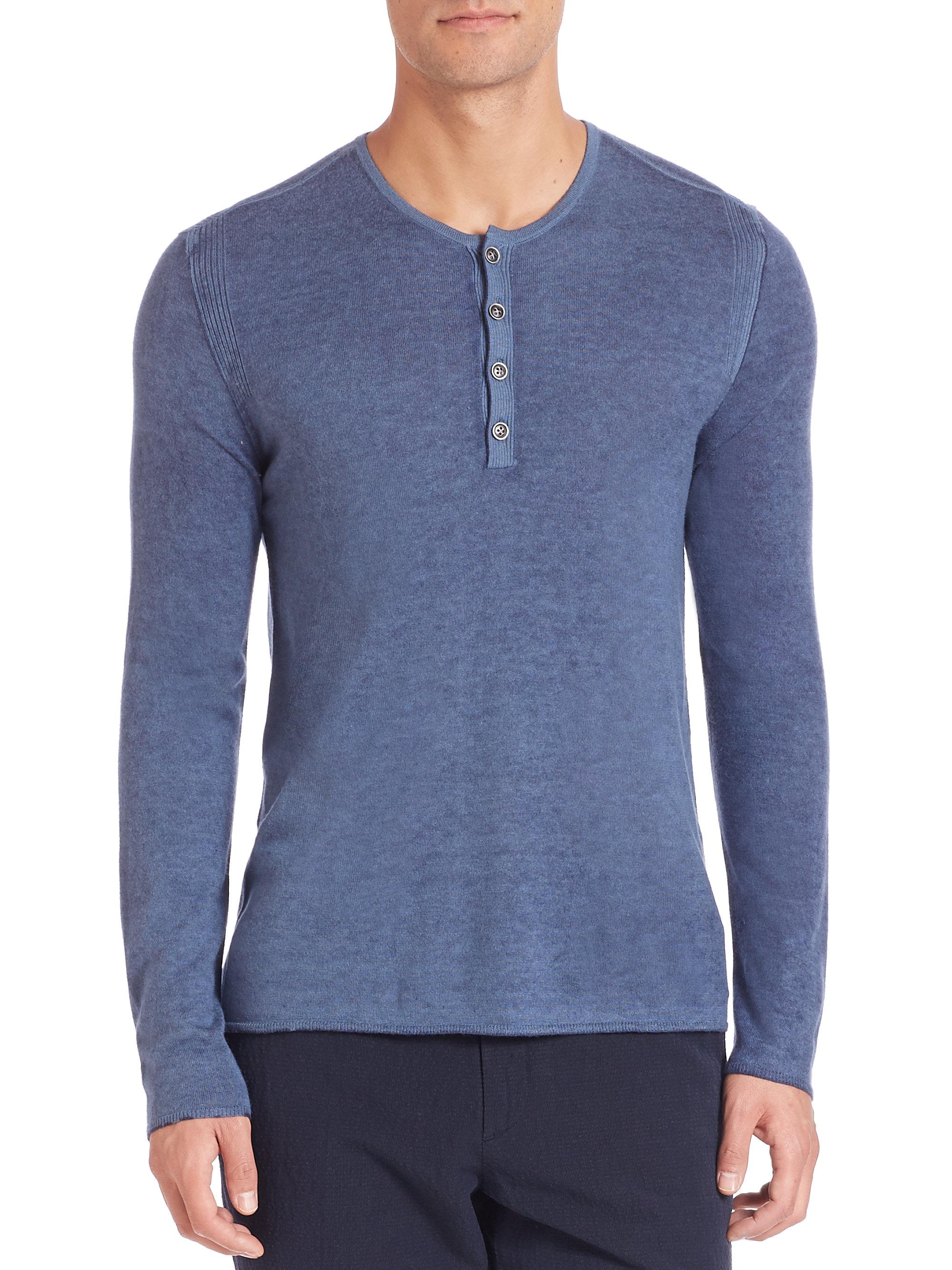 John varvatos Silk & Cashmere Henley Sweater in Blue for Men | Lyst