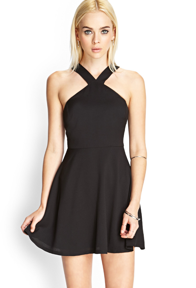 Lyst Forever 21 Halter Skater Dress In Black