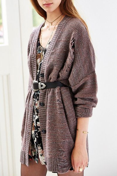 Pins And Needles Grunge Cardigan In Gray Dark Grey Lyst