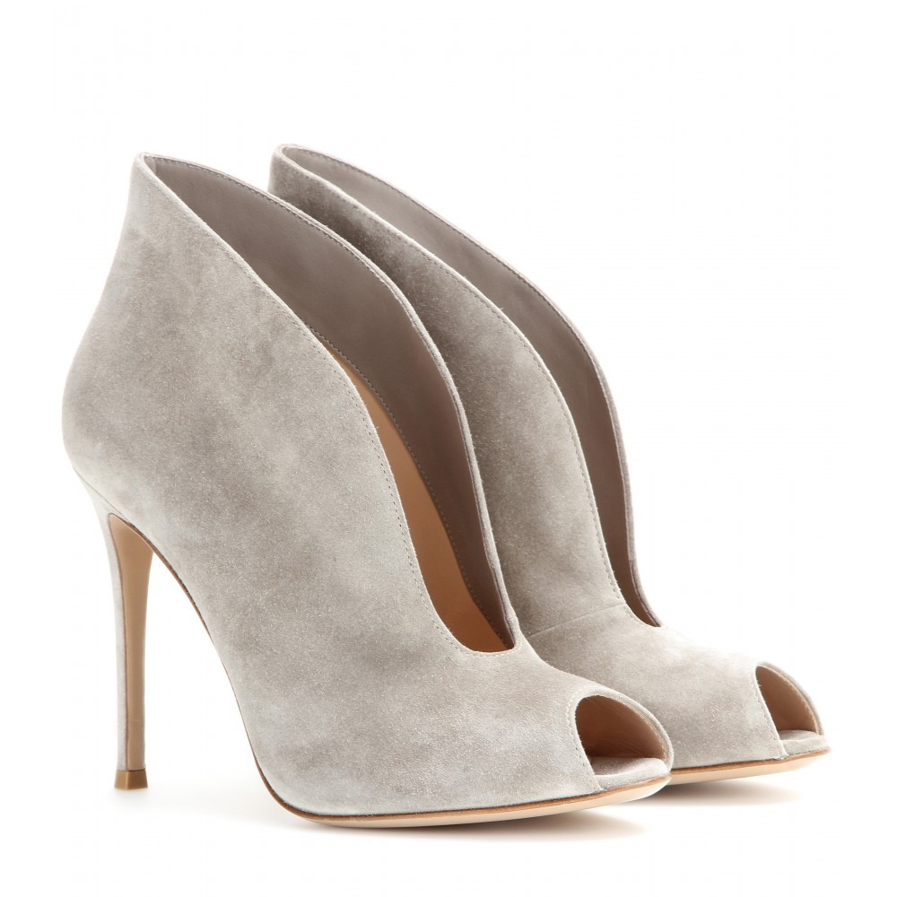 Gianvito rossi Vamp Suede Peep-toe Ankle Boots in Gray | Lyst