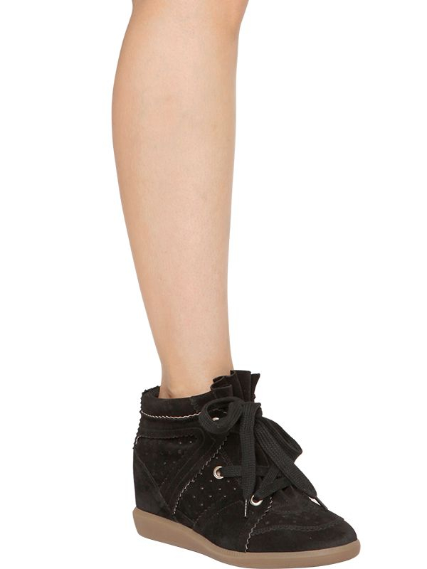 503e6ec38dc Lyst - Isabel Marant Etoile 80Mm Bobby Suede Wedge Sneakers in Black