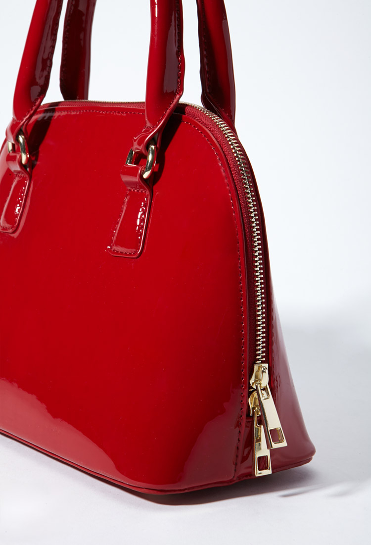 Forever 21 Faux Patent Leather Bowler Bag in Red | Lyst