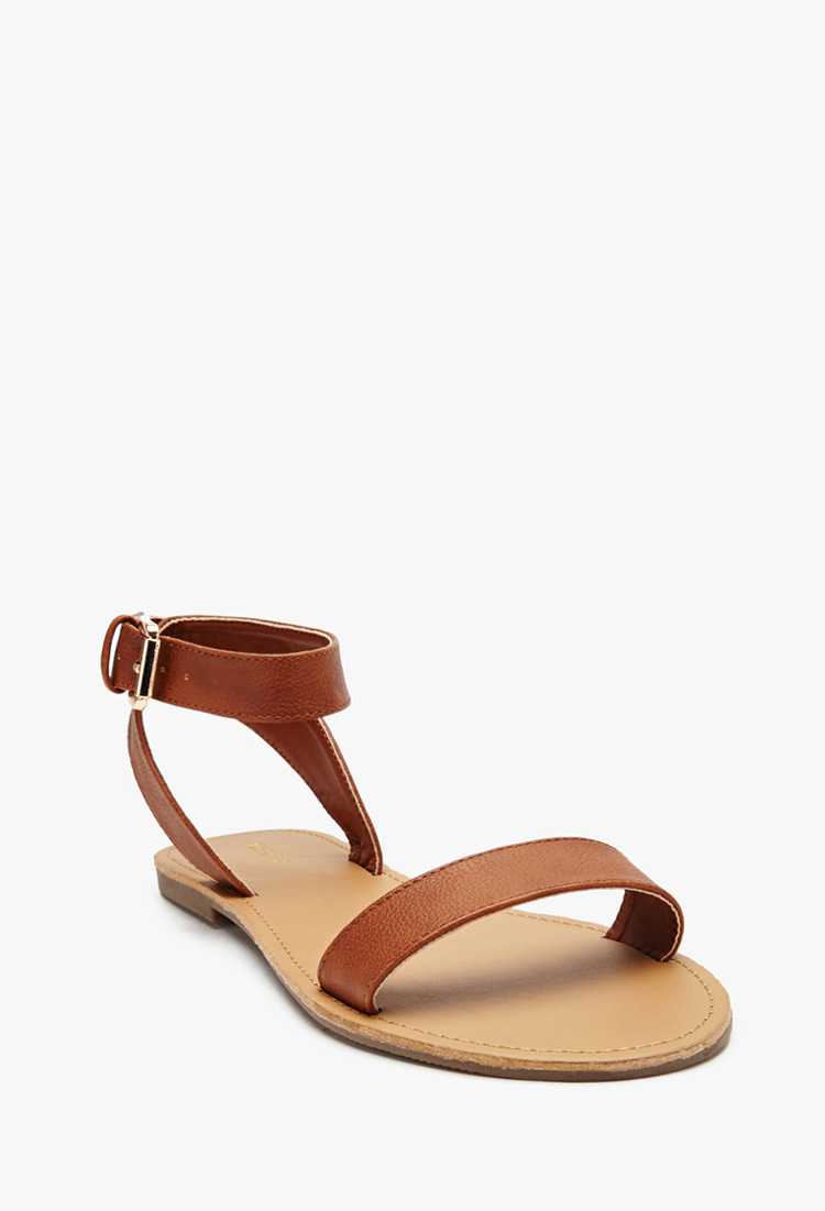 Lyst - Forever 21 Faux Leather Ankle Strap Sandals in Natural