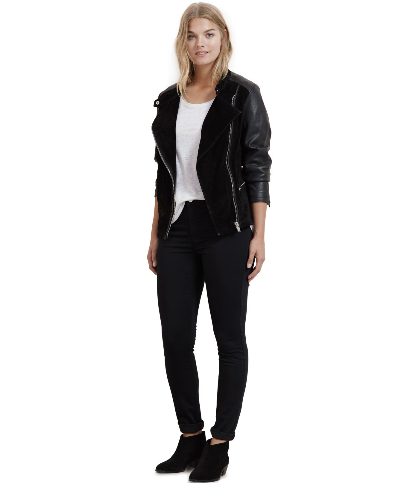 Plus size moto leather jacket