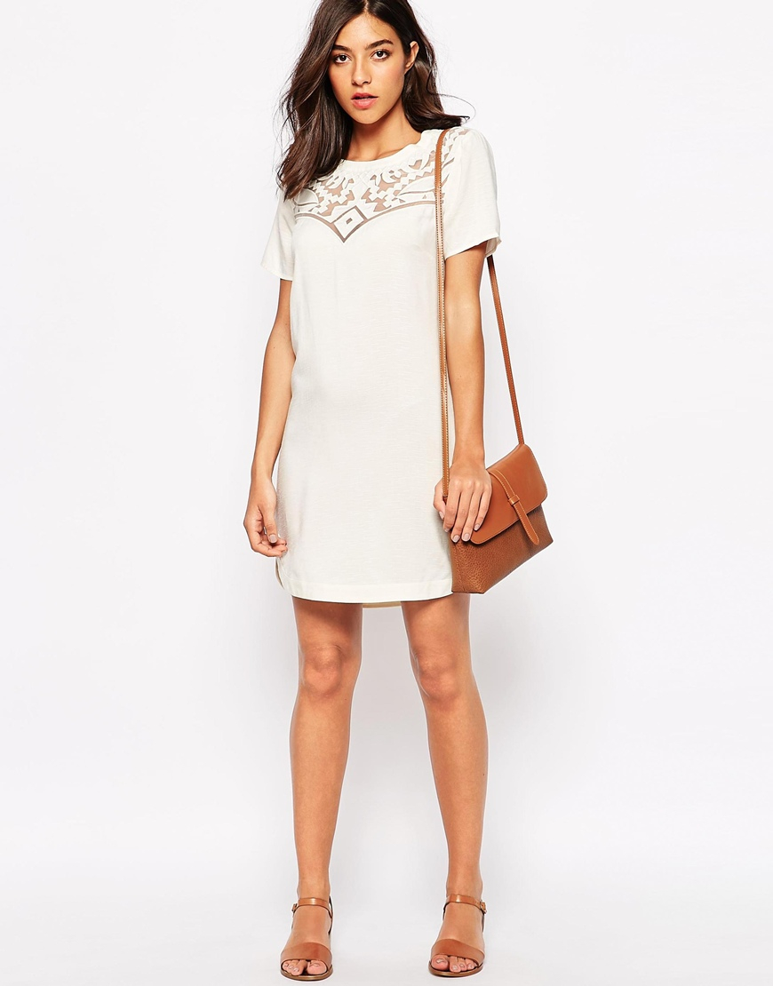 bd97590e0e Lyst - Warehouse Embroidered Lace Shift Dress in Natural
