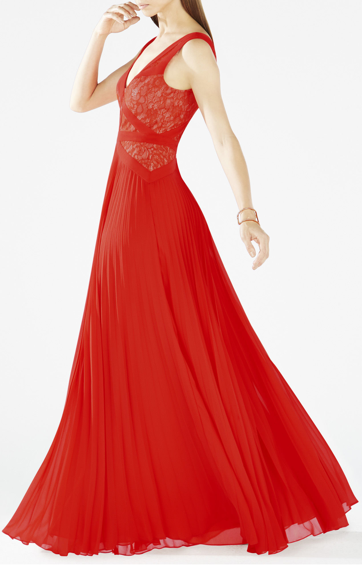 Lyst - Bcbgmaxazria Evonne Lace-blocked Pleated Gown in Red