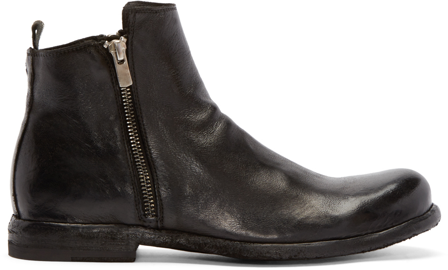 Officine creative Black Leather Zip Boots in Black for Men | Lyst