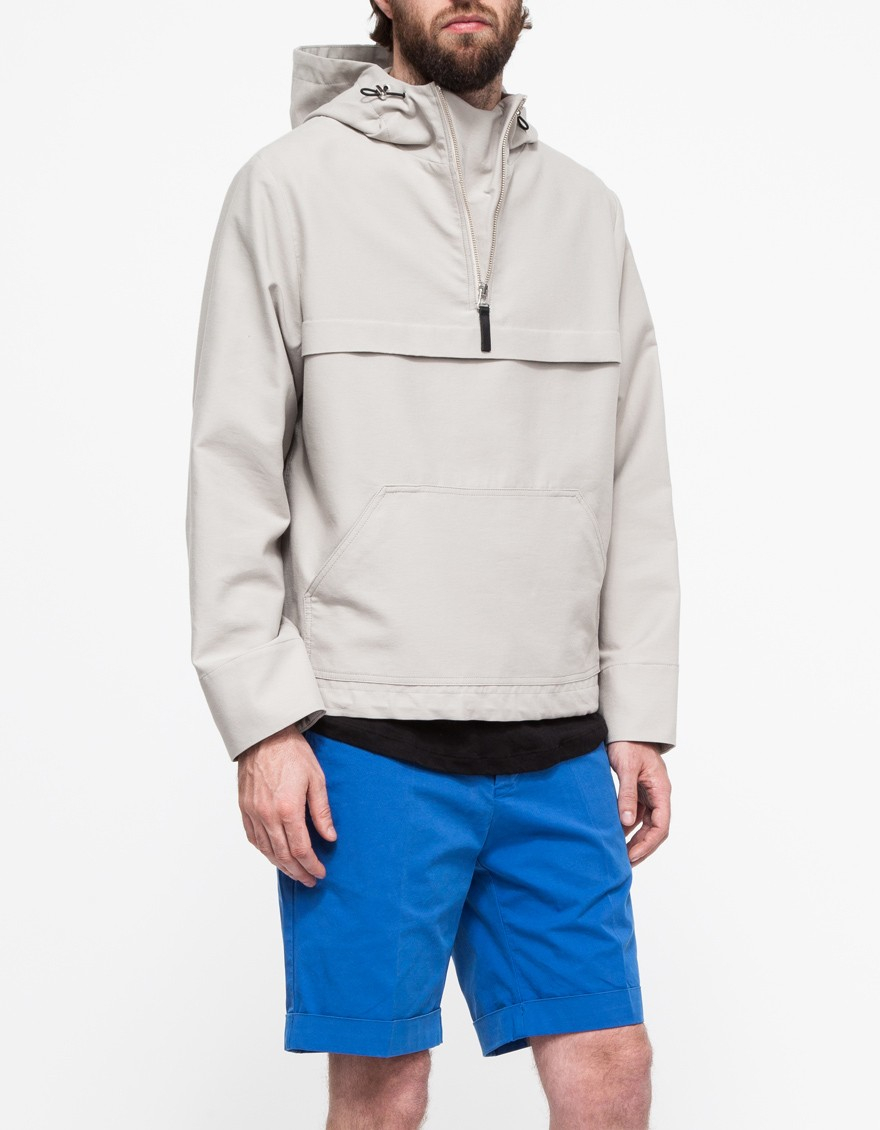 Ami Hooded Half-Zipped Jacket In Natural For Men | Lyst