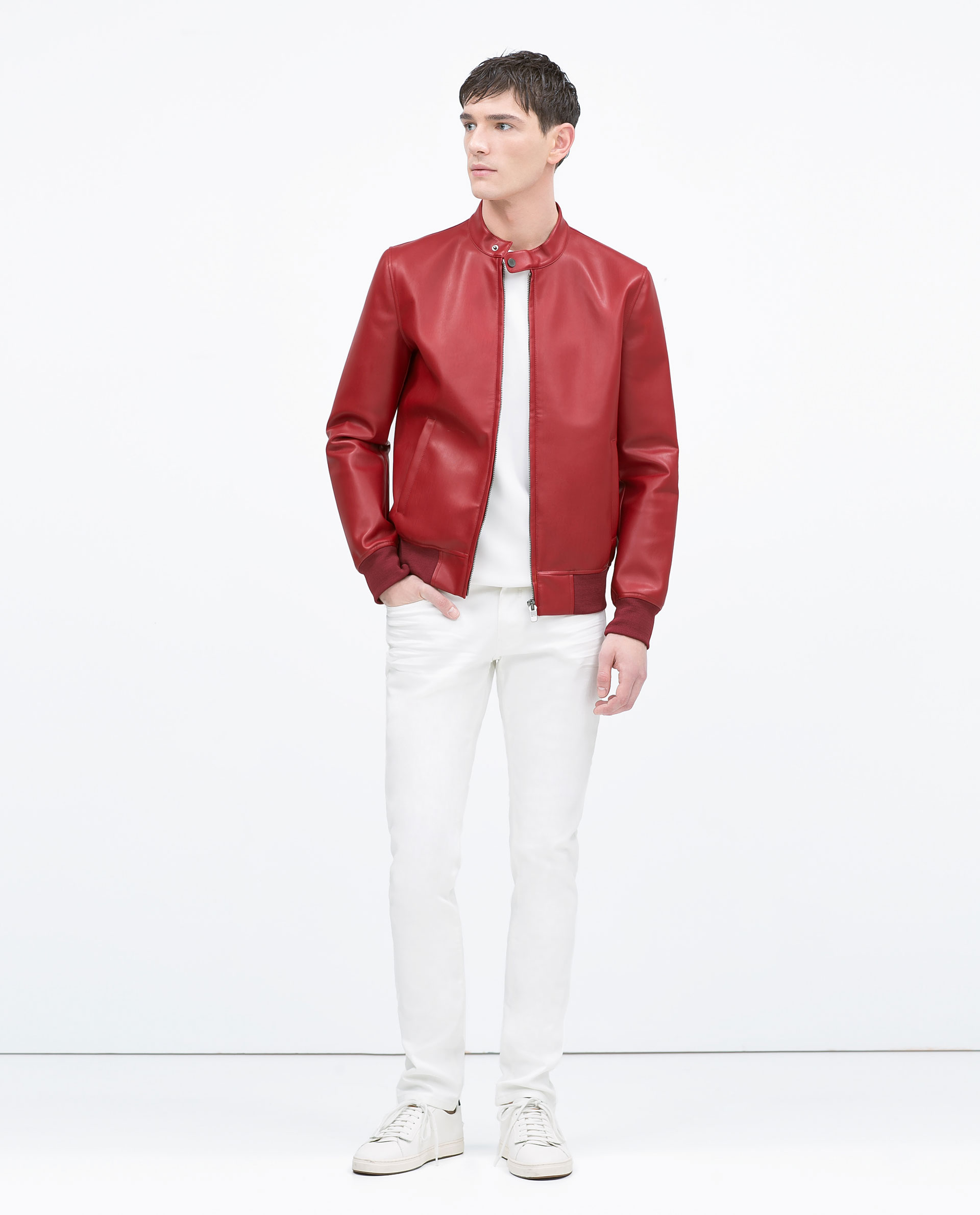 Zara White-Lined Faux Leather Jacket in Red for Men | Lyst