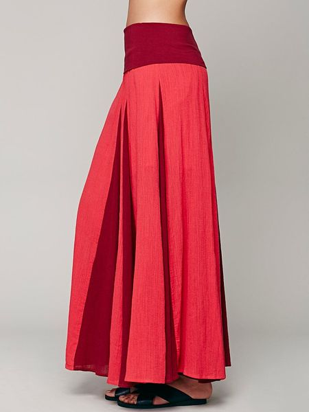 free peaced out maxi skirt in raspberry combo