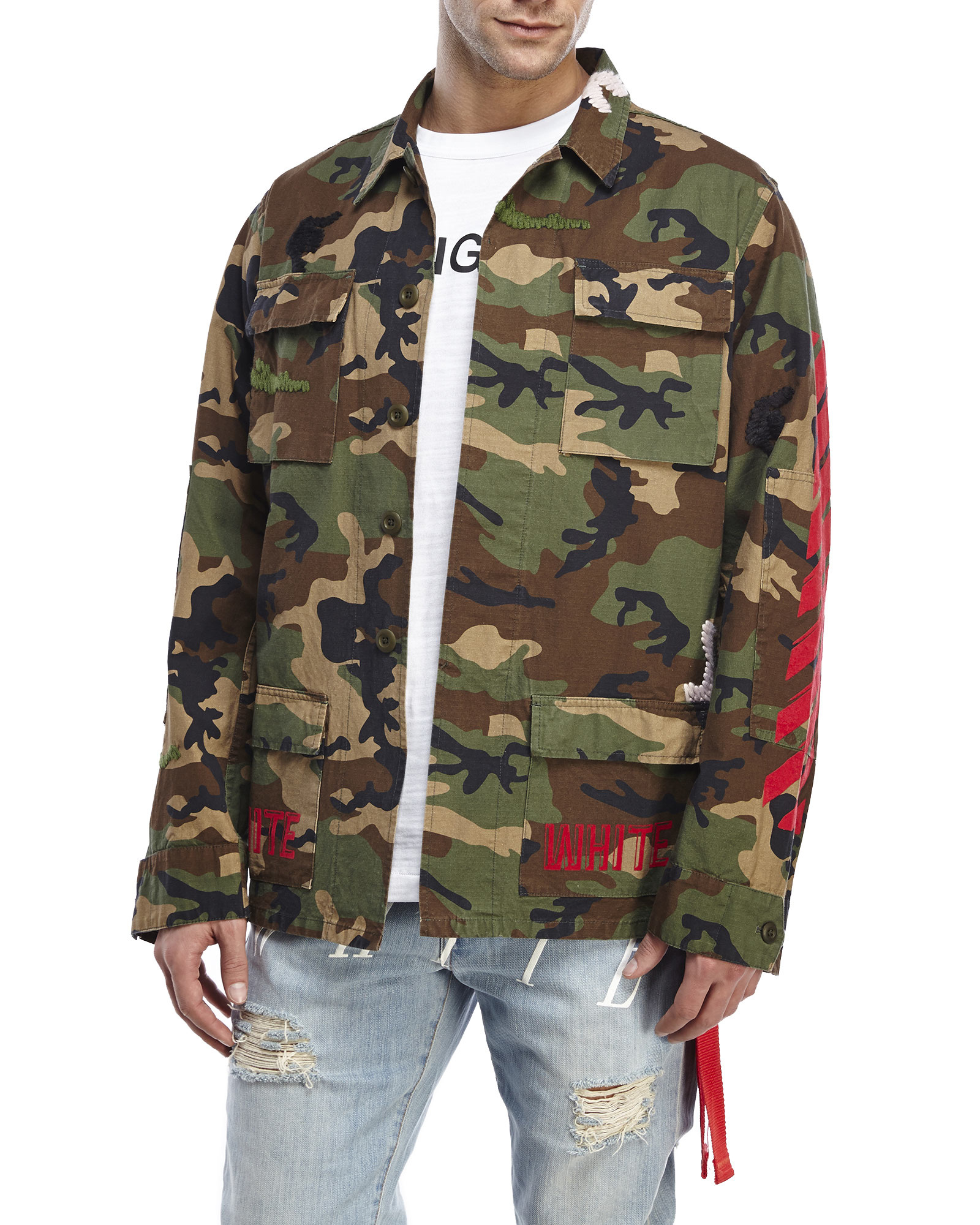 78877576 Off-White c/o Virgil Abloh Embroidered Camouflage Field Jacket in ...