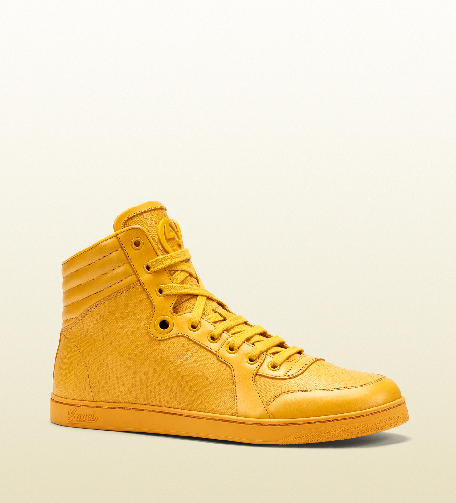 Gucci Diamante Leather High-top Sneaker in Yellow for Men
