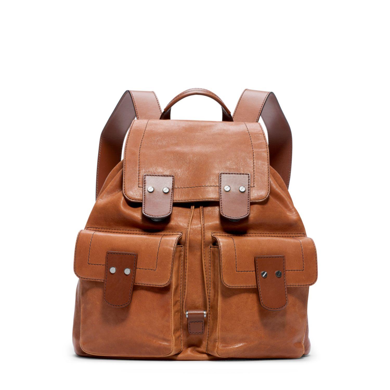 michael kors wilder vintage leather backpack in brown for men luggage lyst. Black Bedroom Furniture Sets. Home Design Ideas