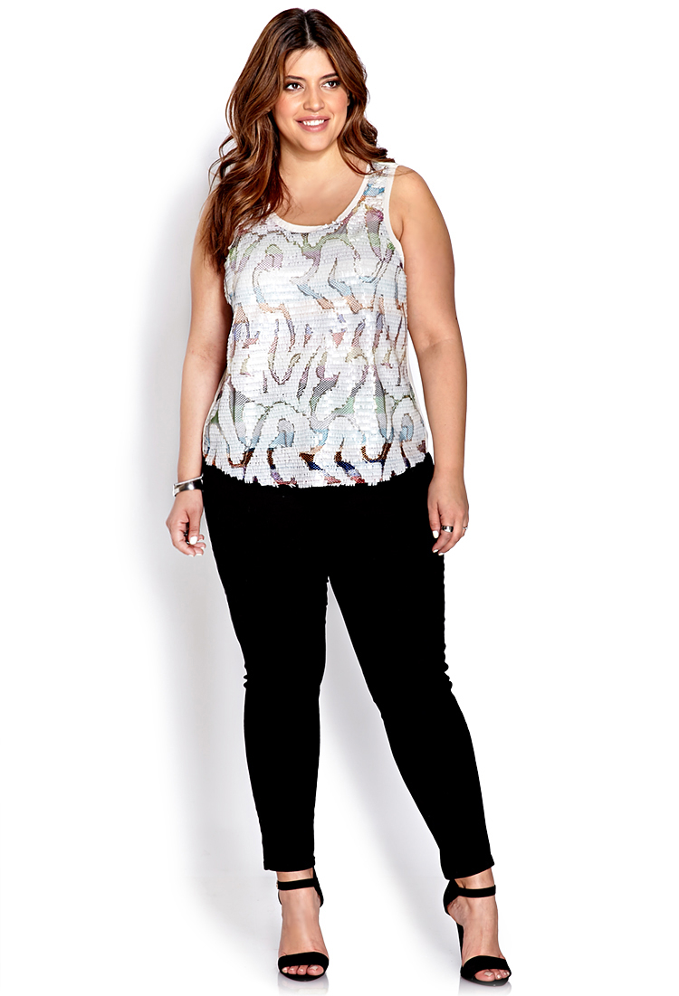 e0f11ff103db2f Forever 21 Dancing Queen Sequined Top in White - Lyst