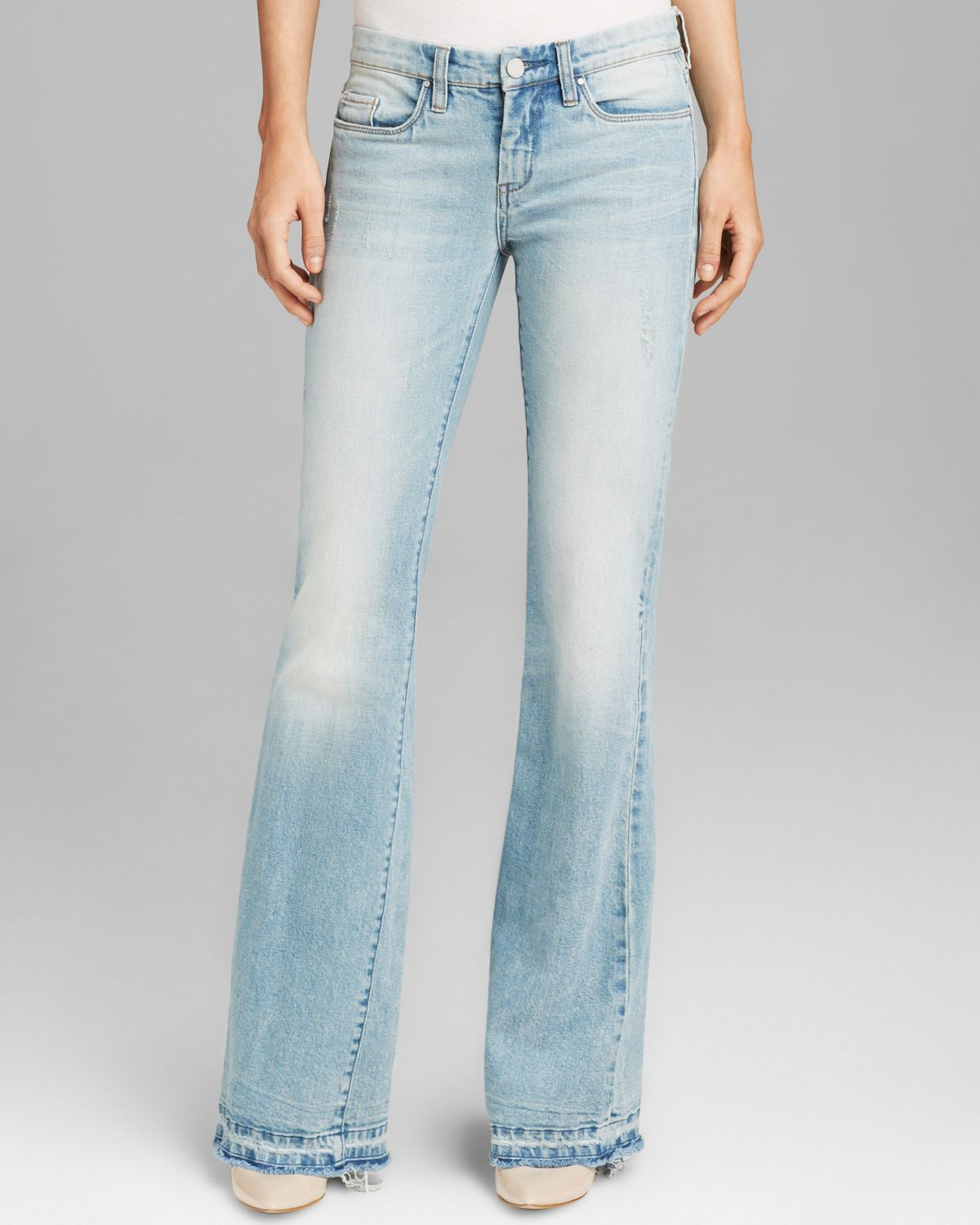 Blank Jeans Distressed Flare in Rasbian in Blue | Lyst