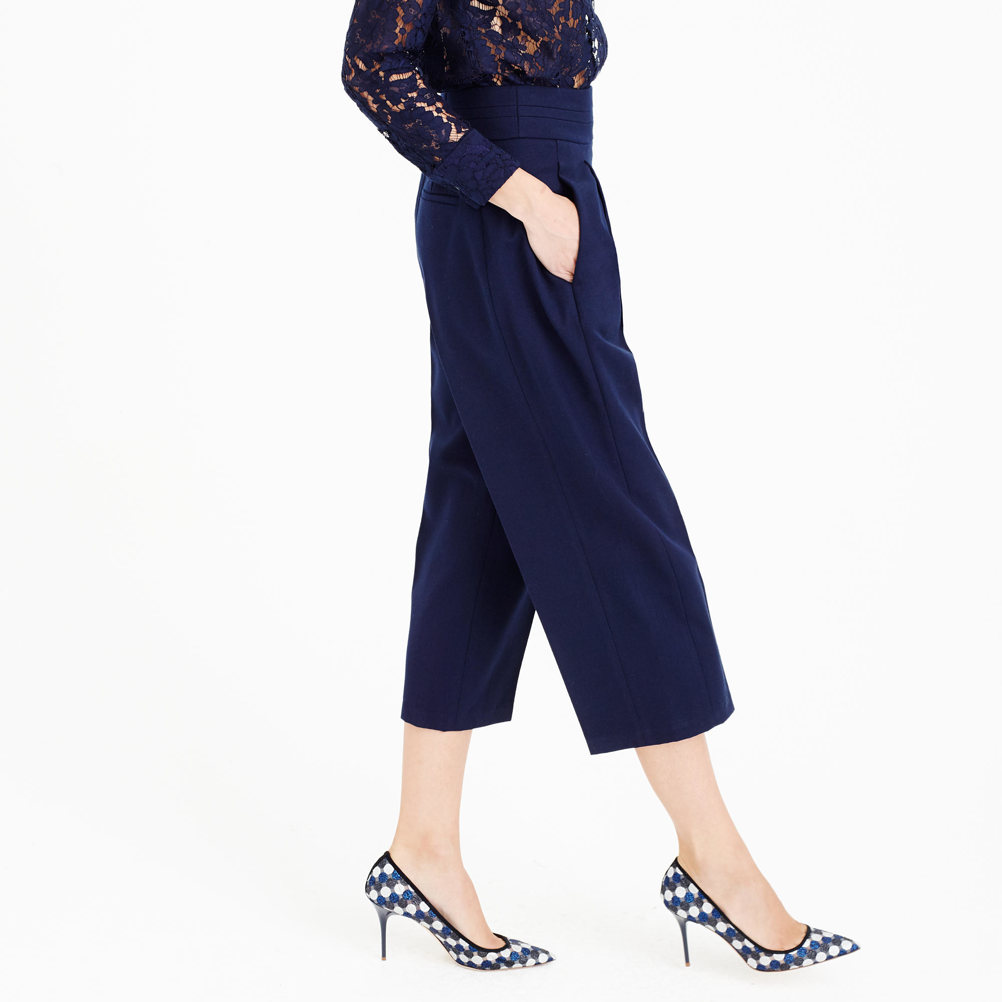 J.crew Collection Cropped Wide-leg Pant in Blue | Lyst