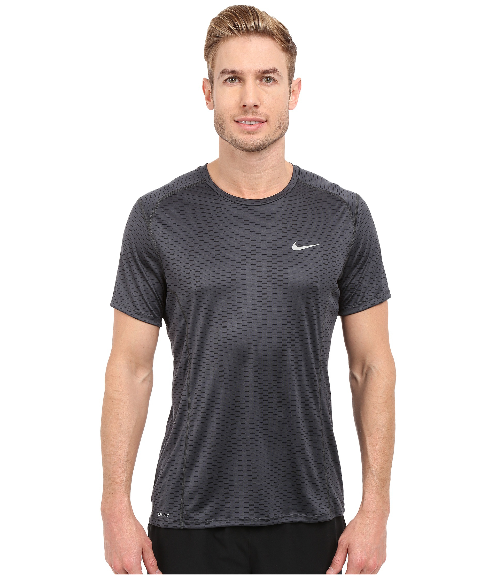 Nike dri fit miler fuse running shirt in gray for men lyst for Running dri fit shirts