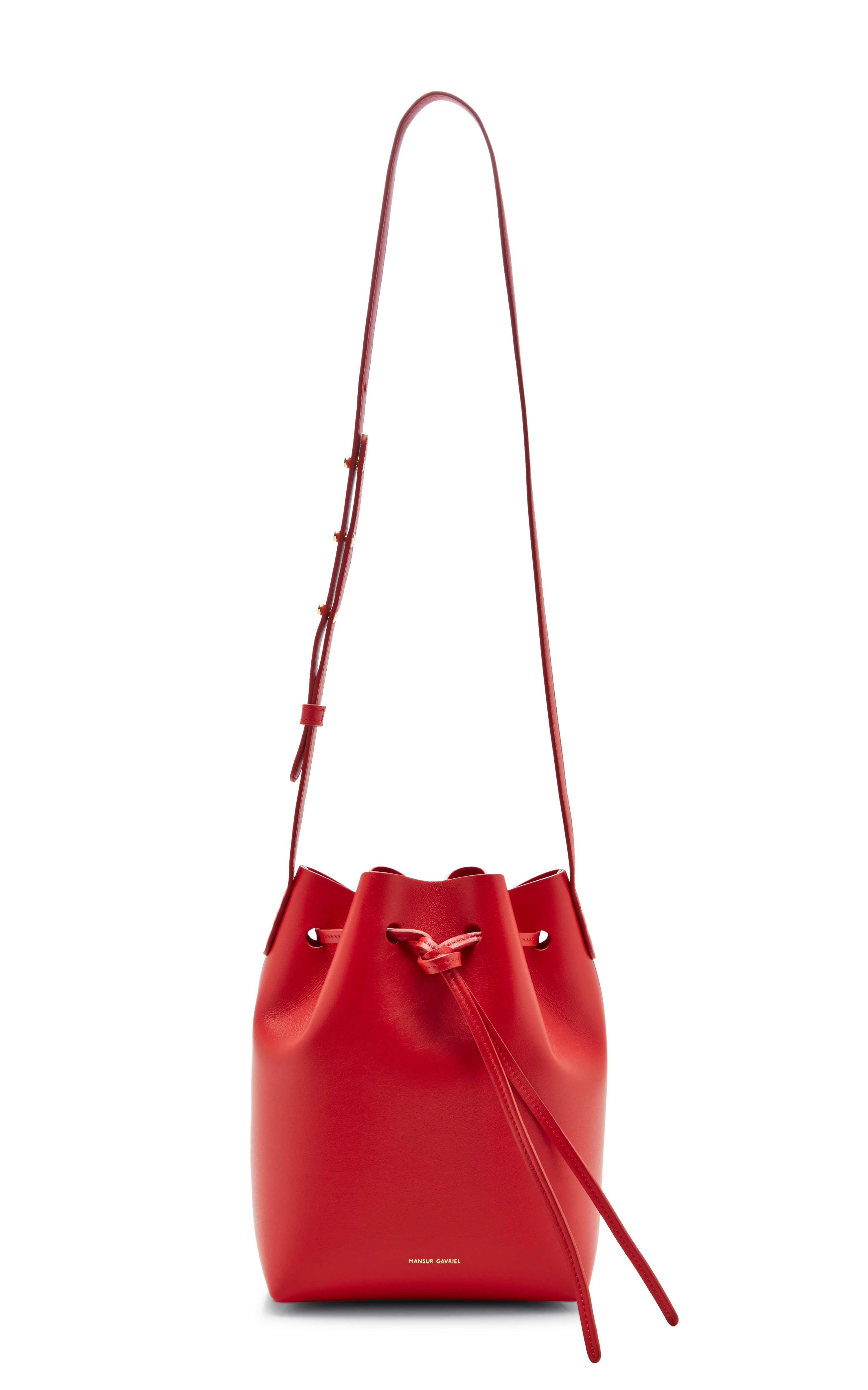 Lyst - Mansur Gavriel Mini Leather Bucket Bag in Red in Red