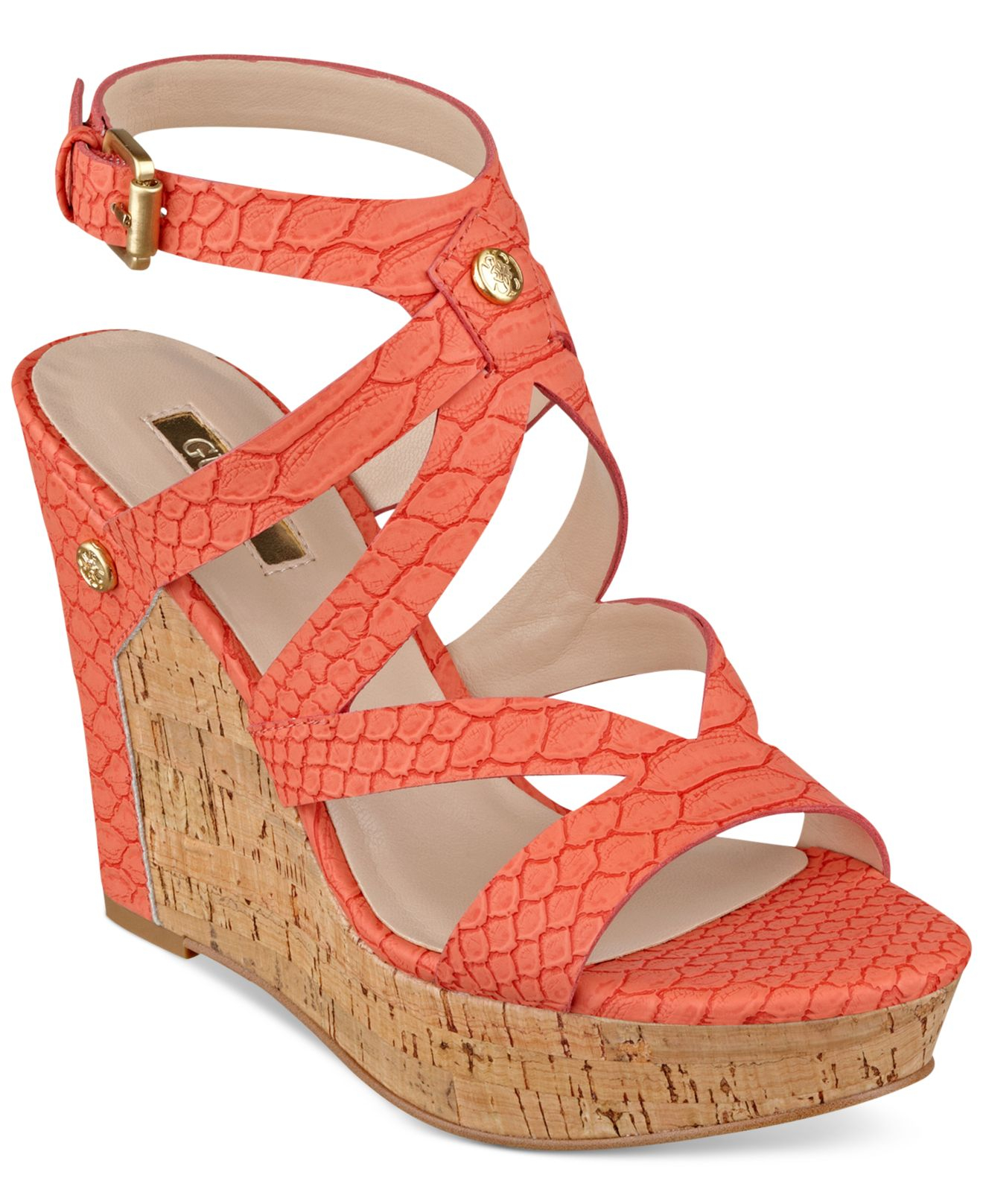 Womens orange wedge sandals