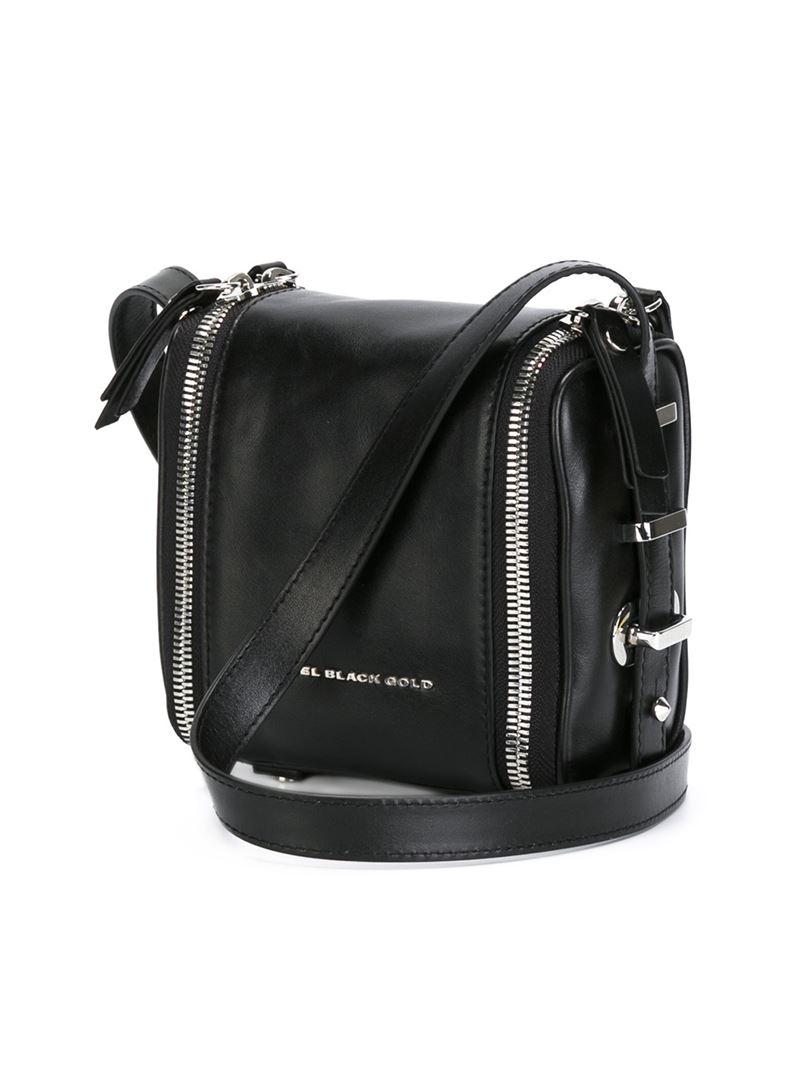 113a564492 Diesel black gold Zip-Detail Leather Shoulder Bag in Black