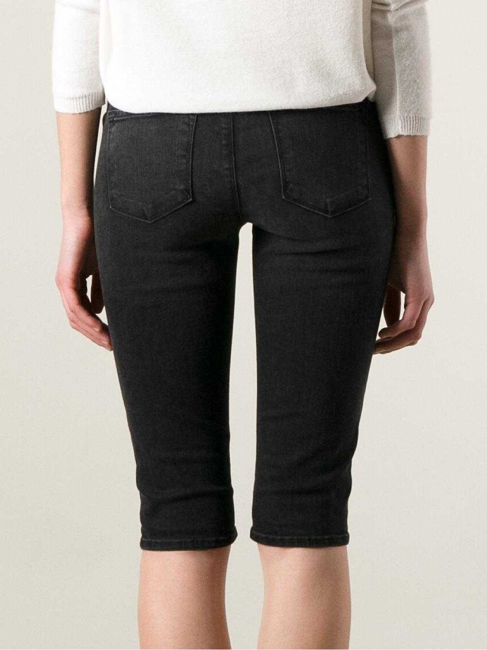 5a40d2da630 Lyst - J Brand Knee Length Denim Bike Shorts in Black