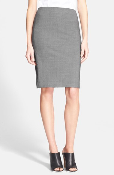 Theory Stretch Wool Pencil Skirt in Gray | Lyst