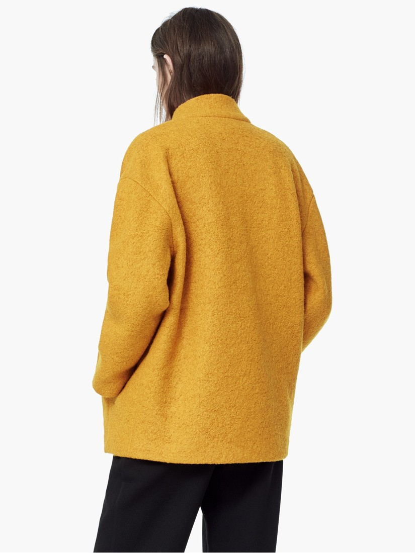 bcc9d982d711 Mango Boucle Wool Blend Cocoon Coat in Yellow - Lyst