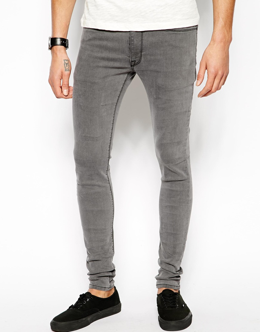 Lyst - Asos Extreme Super Skinny Jeans In Light Grey in ...