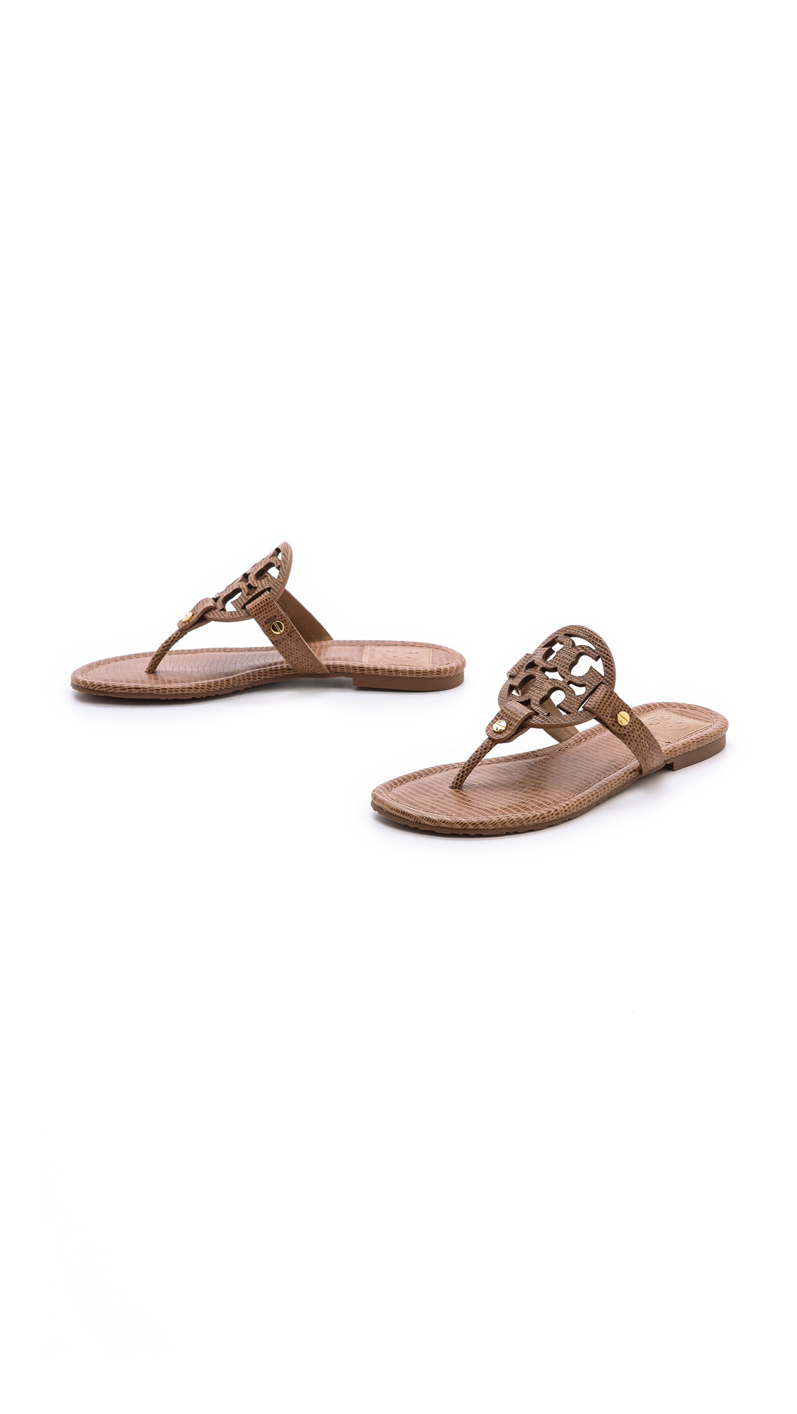 5bb2ac87a91f Tory Burch Miller Tejus Print Sandals Newport Navy in Brown - Lyst