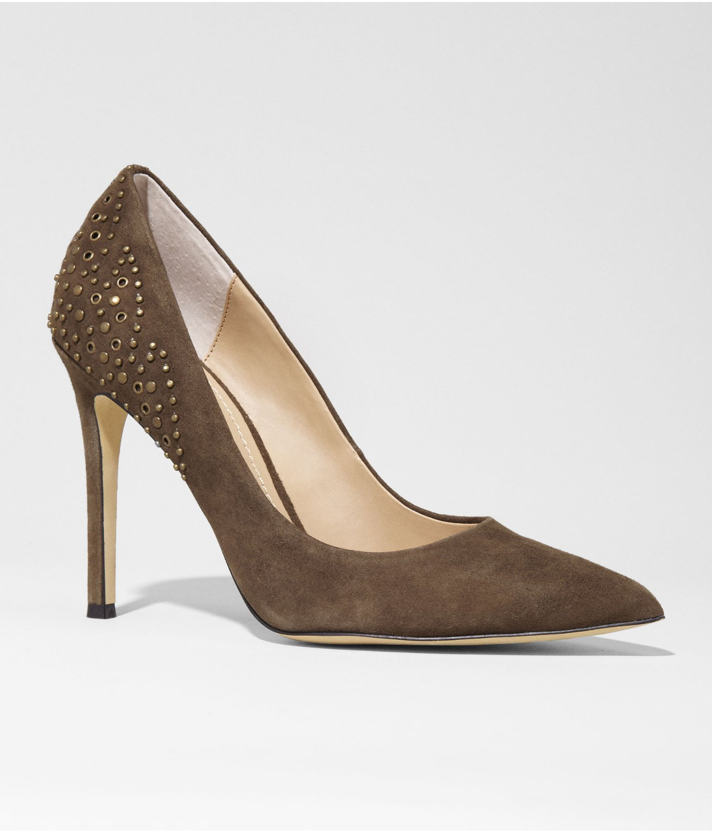 Express Suede Studded Pointed Toe Runway Pump In Green ...