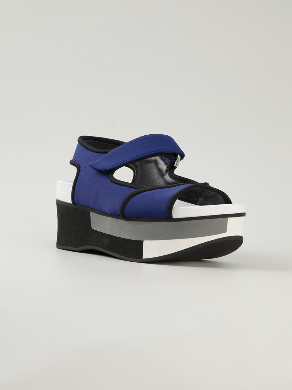 marni colour block platform sandals in blue lyst