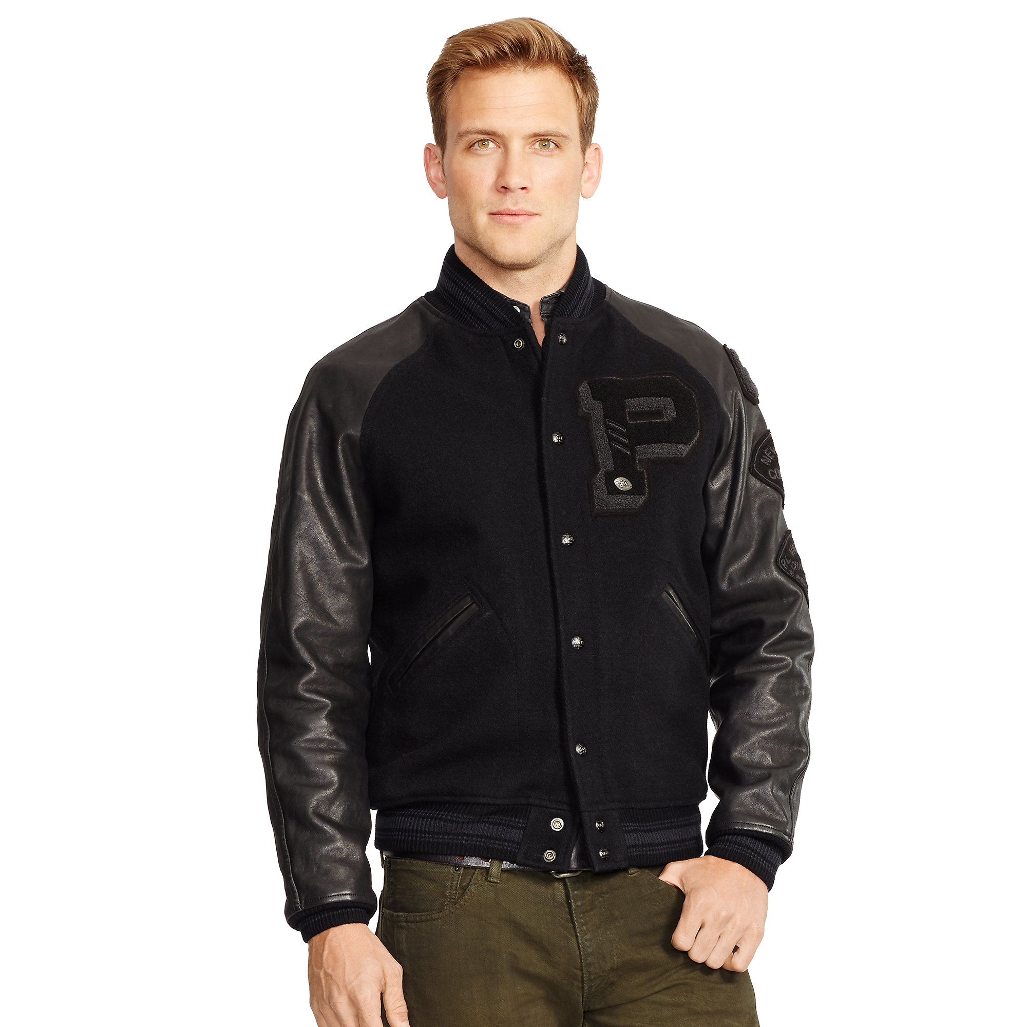 lyst polo ralph lauren leather sleeved wool jacket in. Black Bedroom Furniture Sets. Home Design Ideas
