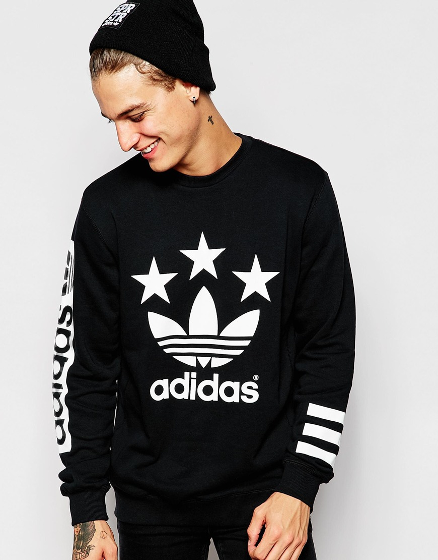adidas originals stars sweatshirt ab9577 in black for men. Black Bedroom Furniture Sets. Home Design Ideas