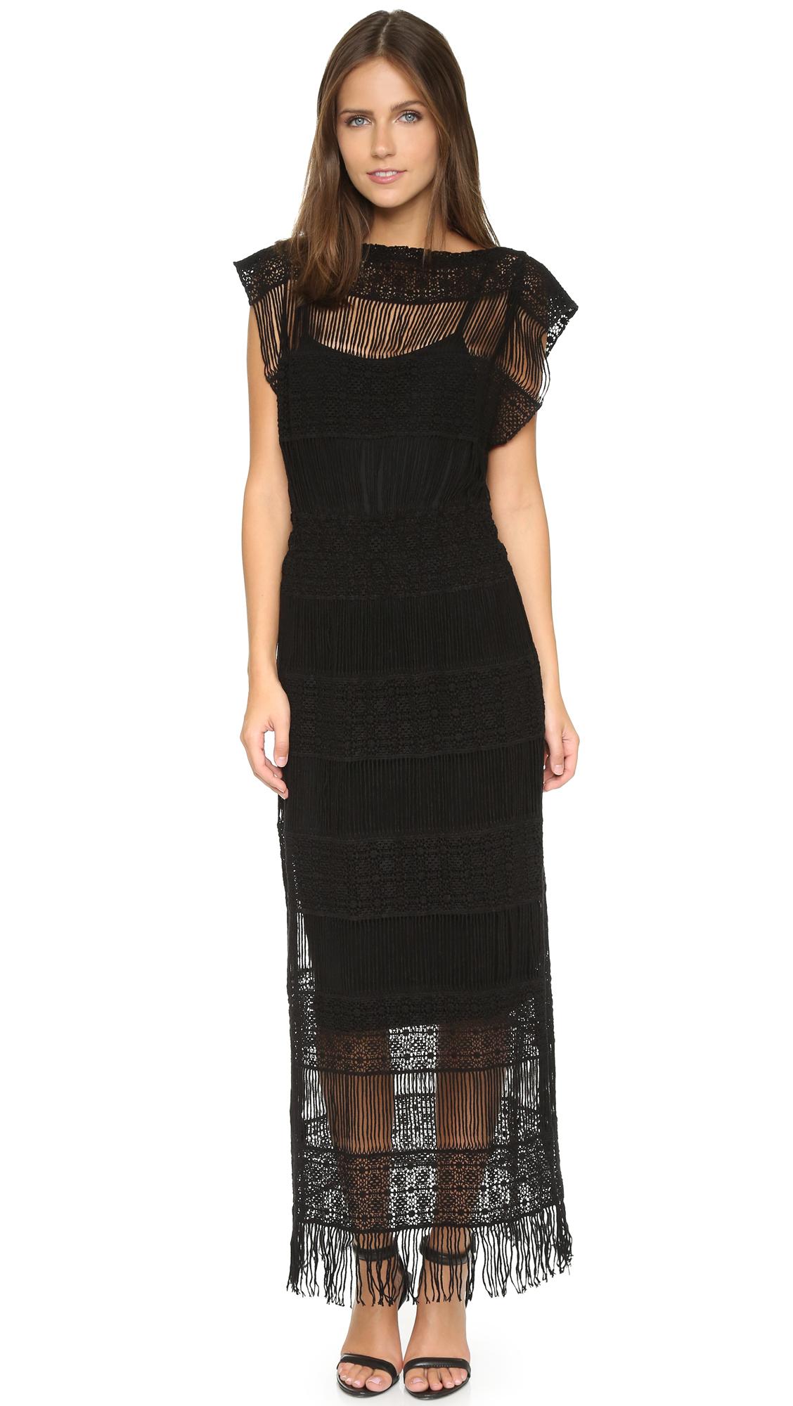 Crochet maxi dress black