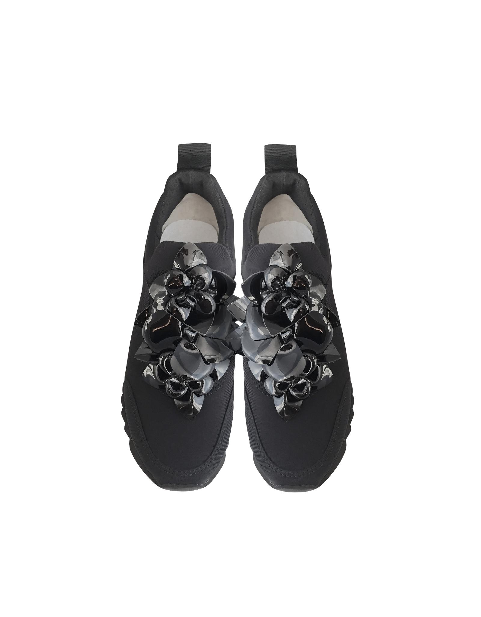 db1a6e7741cbf Lyst - Tory Burch Blossom Black Neoprene Sneaker in Black