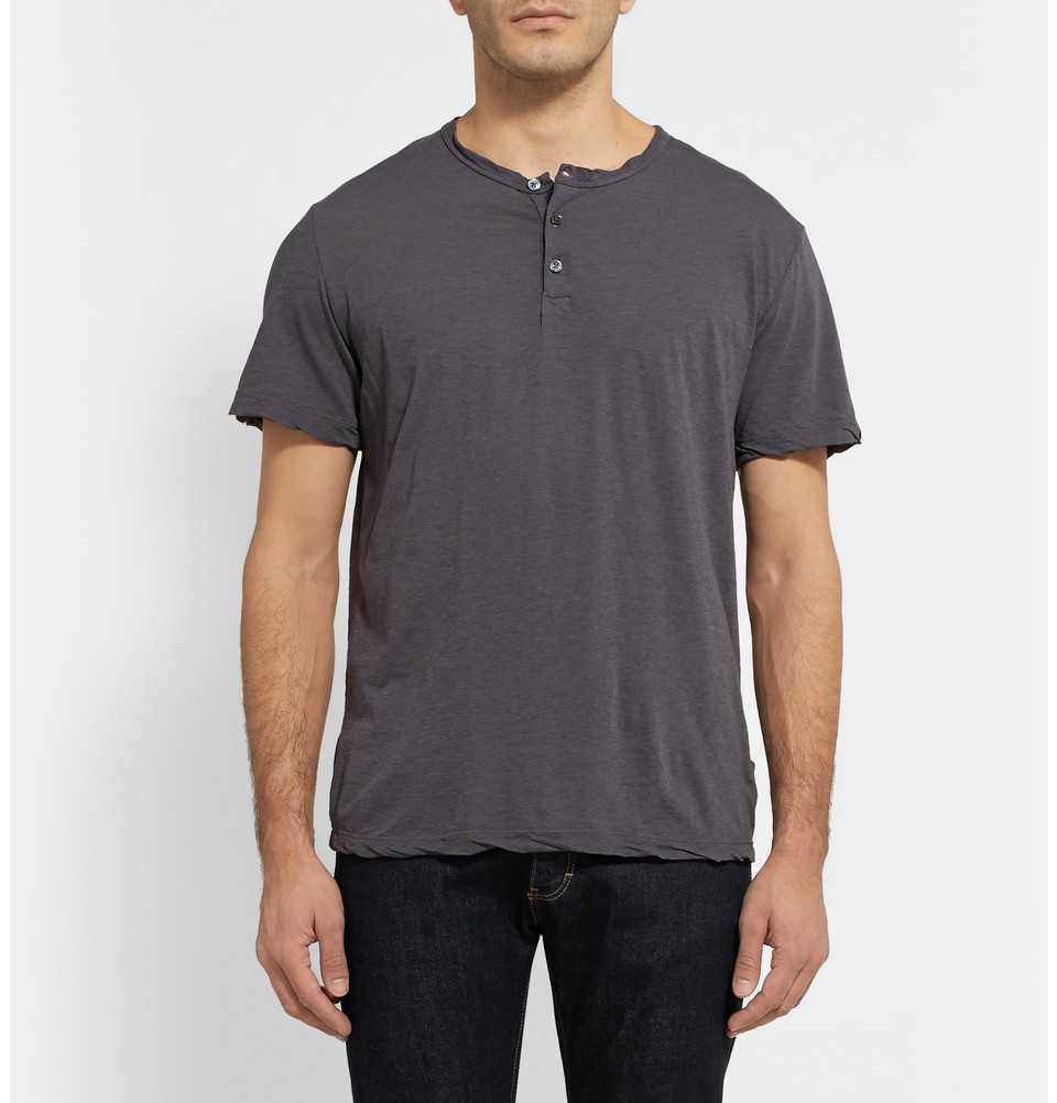 Lyst james perse washed slub cotton jersey henley t for James perse henley shirt