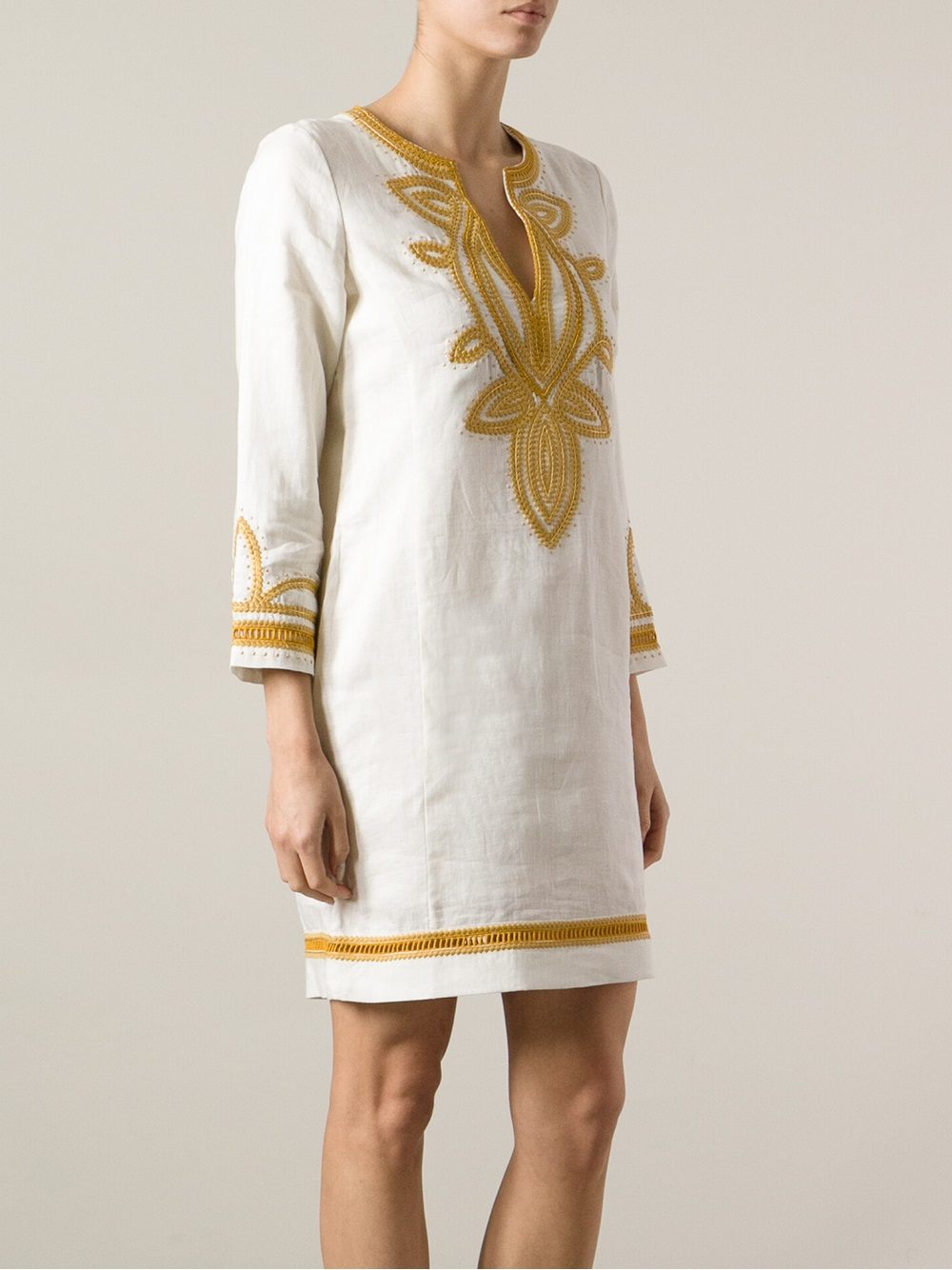 7fd93534427c Lyst - Tory Burch Odelia Tunic Dress in White
