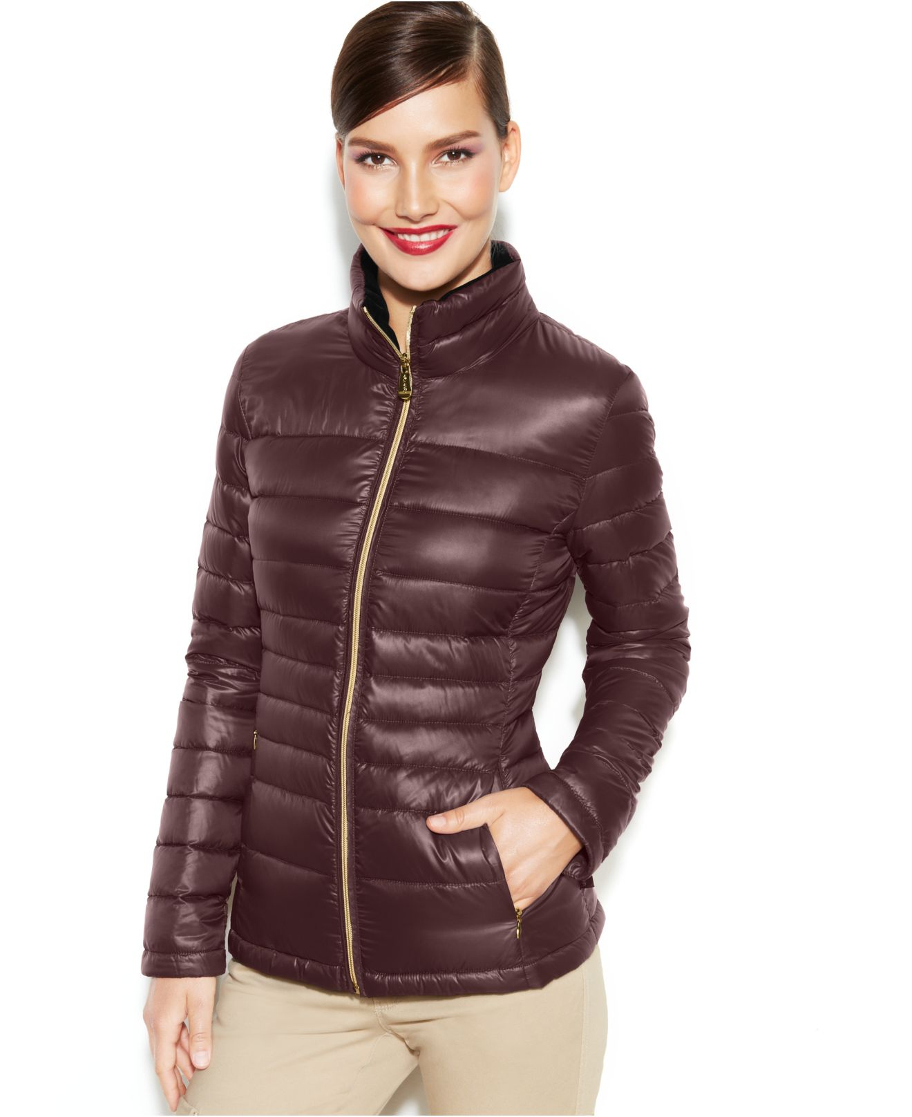 Calvin klein Petite Packable Quilted Down Puffer Coat in Brown | Lyst