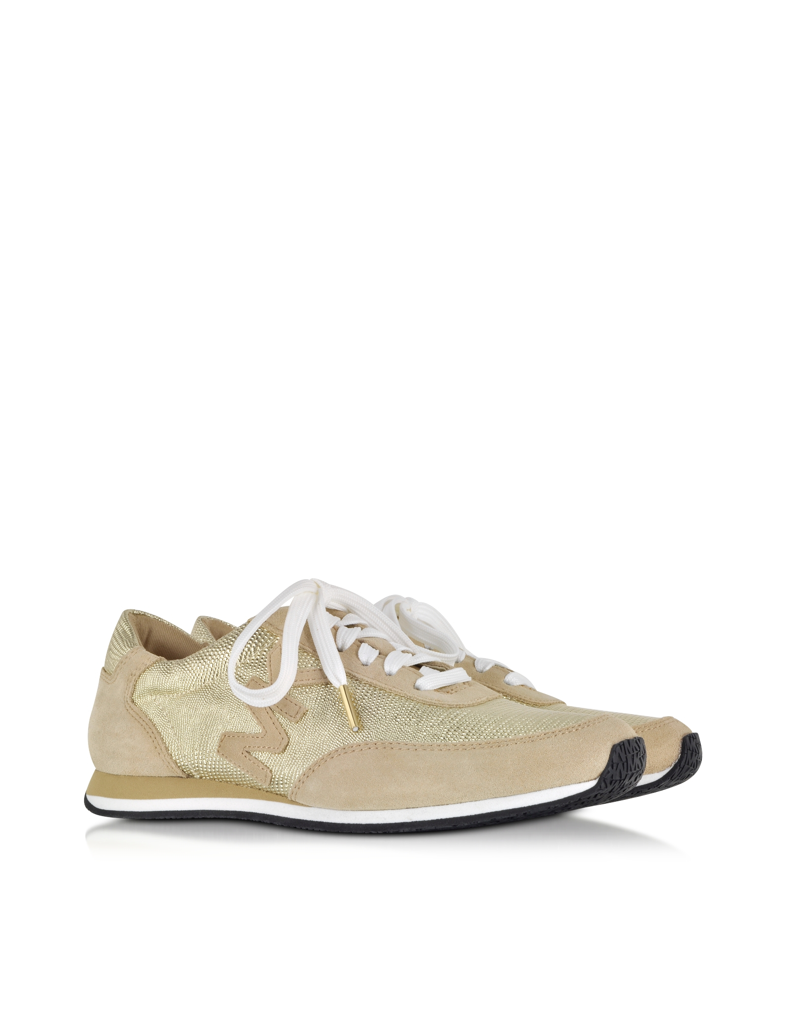 febc76470c41 Michael Kors Stanton Leather And Suede Gold Sneaker in Metallic - Lyst