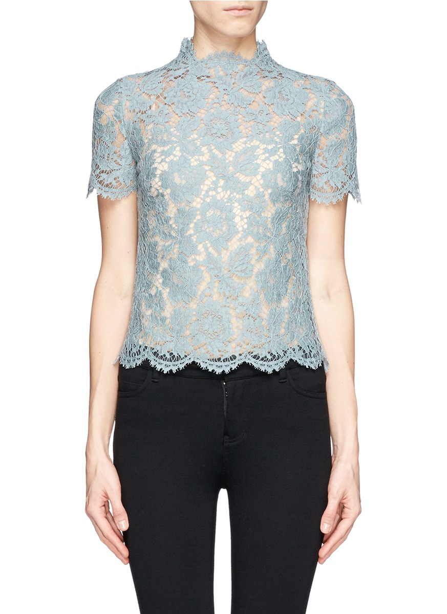 Spend a day out with the girls in the Dusty Blue Lace Top.