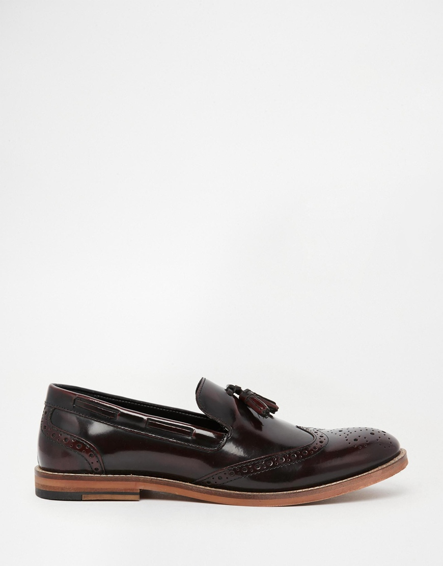 091d1b6dcf1 Lyst - ASOS Brogue Tassel Loafers In Burgundy Hi-shine Leather in ...