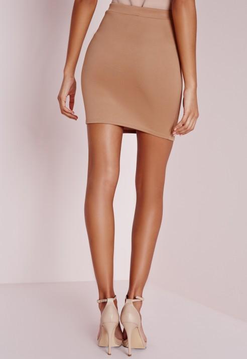 Missguided Zip Split Mini Skirt Camel in Natural | Lyst