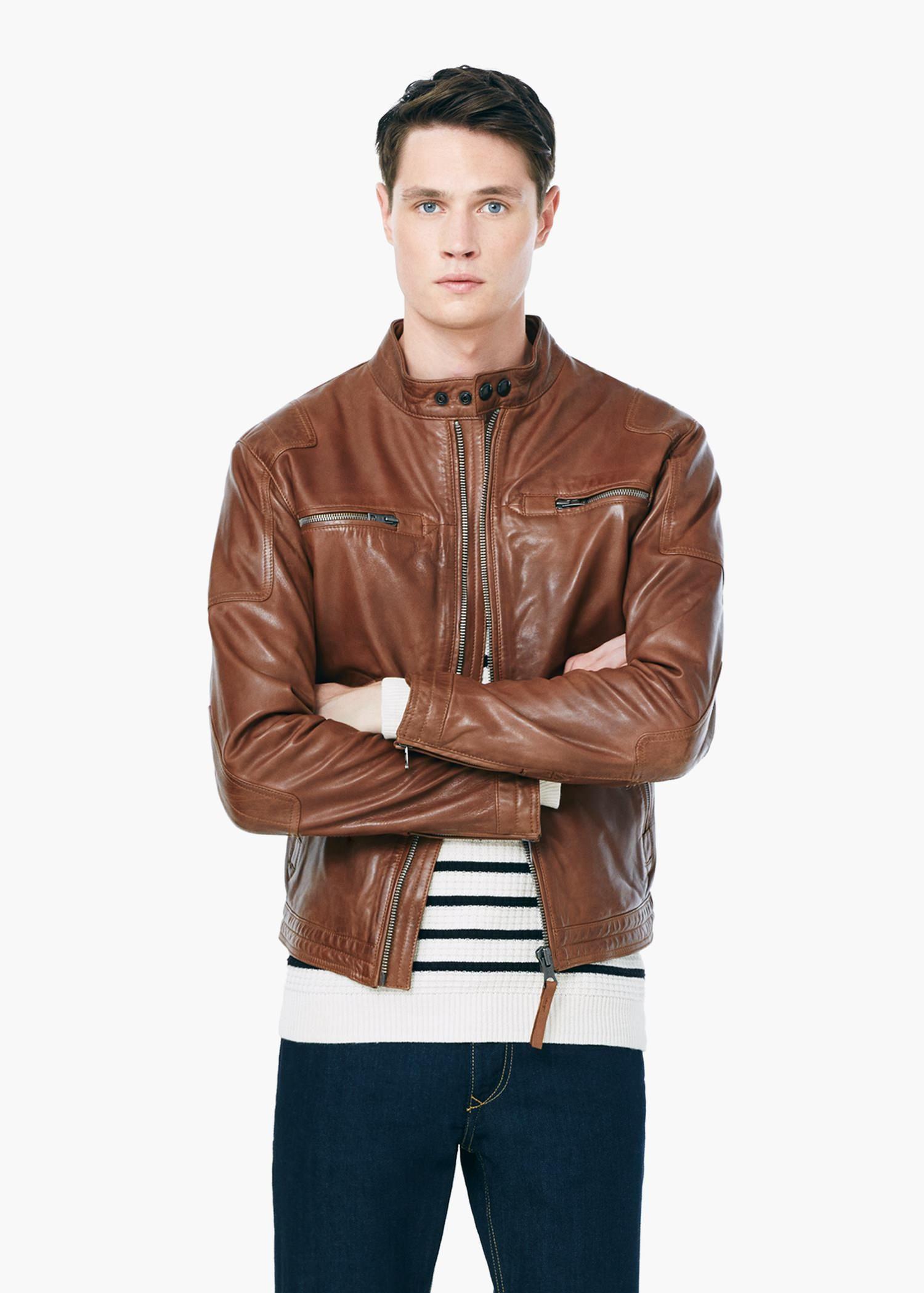 Mango Leather Biker Jacket In Brown For Men Lyst