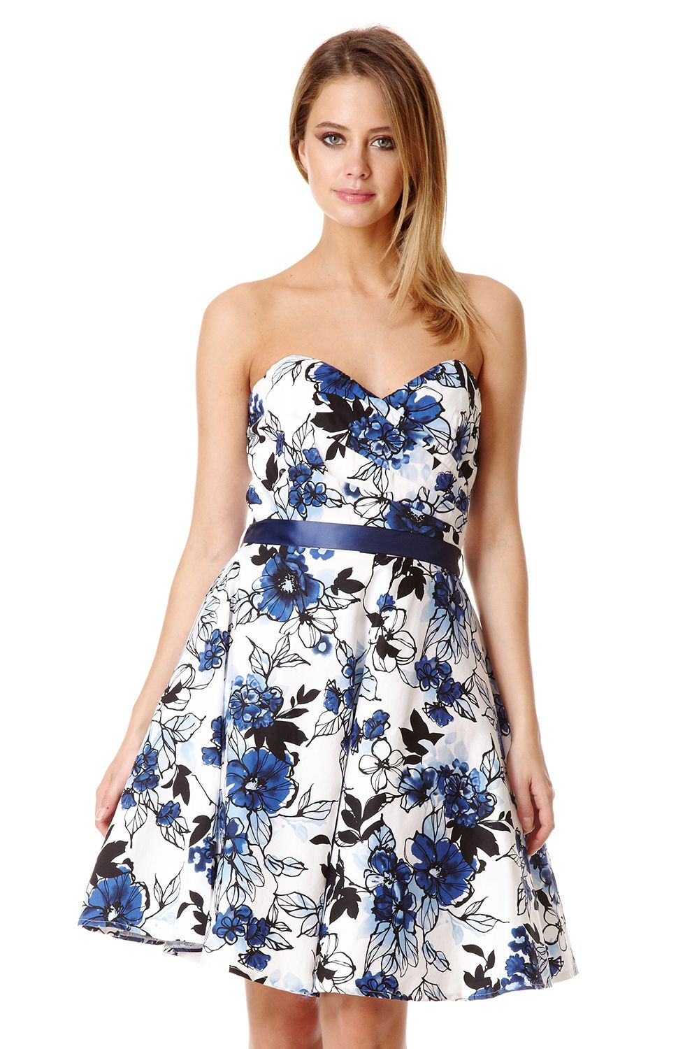 Quiz Blue Floral Crossover Bandeau Dress in Blue | Lyst