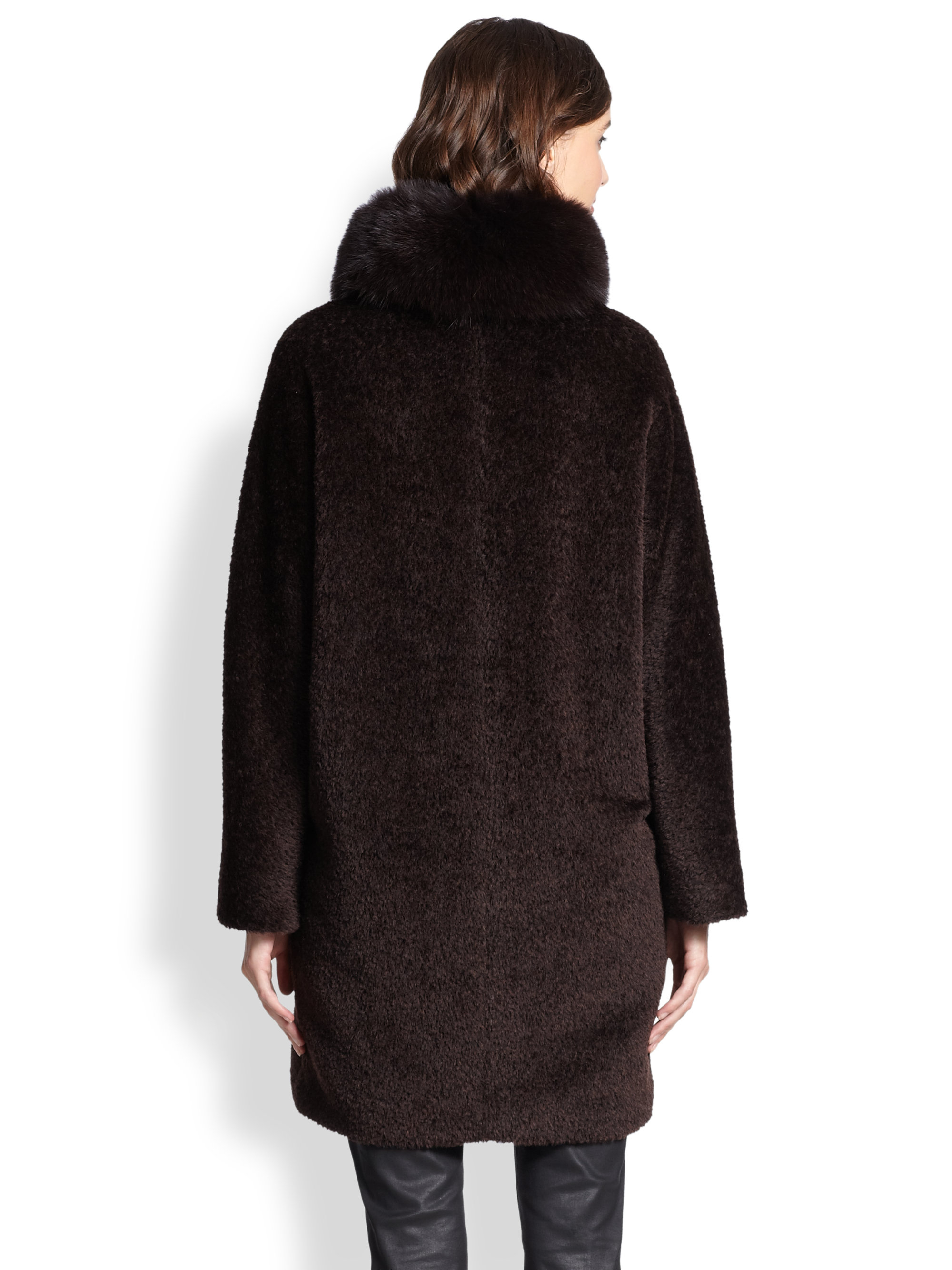 Lyst Max Mara Studio Kriss Fur Trim Cocoon Coat In Brown